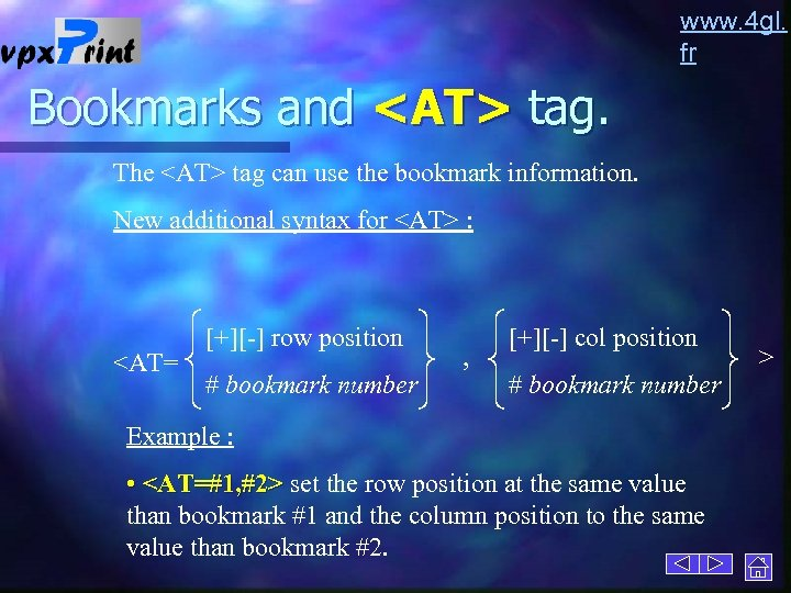 www. 4 gl. fr Bookmarks and <AT> tag. The <AT> tag can use the