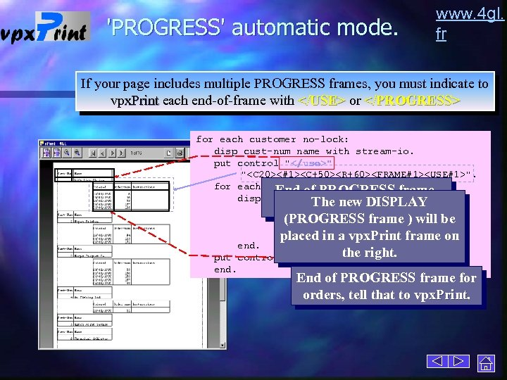 'PROGRESS' automatic mode. www. 4 gl. fr If your page includes multiple PROGRESS frames,
