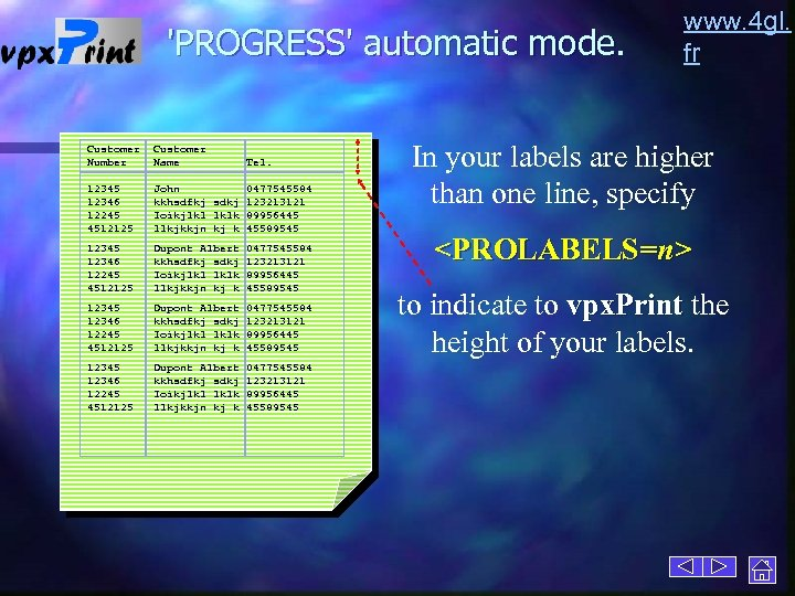 'PROGRESS' automatic mode. Customer Number Customer Name 12345 12346 12245 4512125 John 0477545584 kkhsdfkj