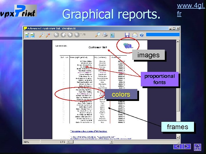 www. 4 gl. fr Graphical reports. images proportional fonts colors frames
