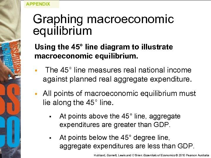 APPENDIX Graphing macroeconomic equilibrium Using the 45° line diagram to illustrate macroeconomic equilibrium. §