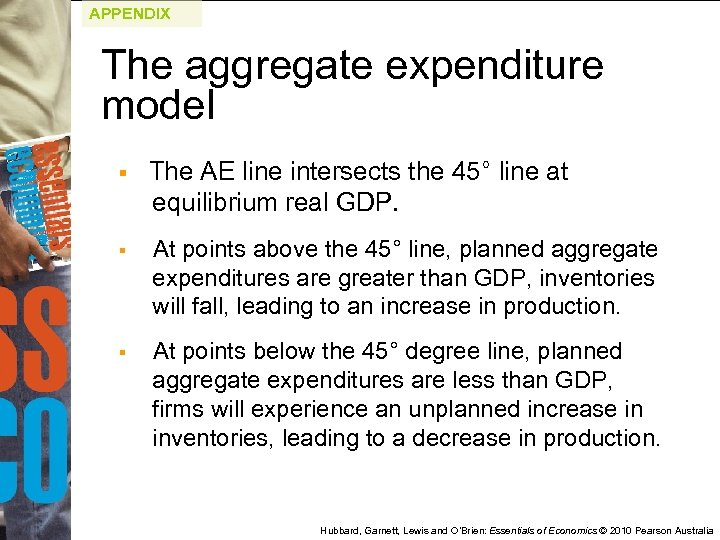 APPENDIX The aggregate expenditure model § The AE line intersects the 45° line at