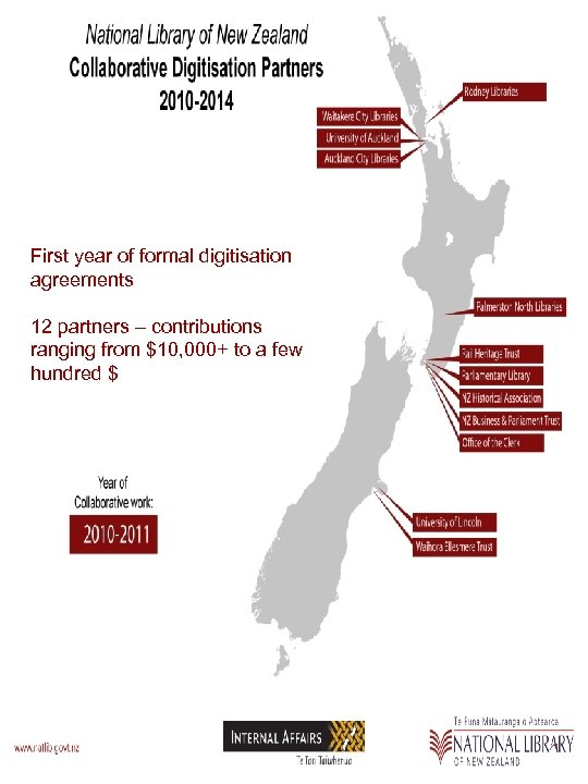 First year of formal digitisation agreements 12 partners – contributions ranging from $10, 000+