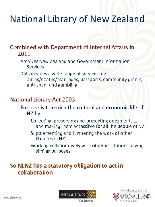 National Library of New Zealand Combined with Department of Internal Affairs in 2011 Archives
