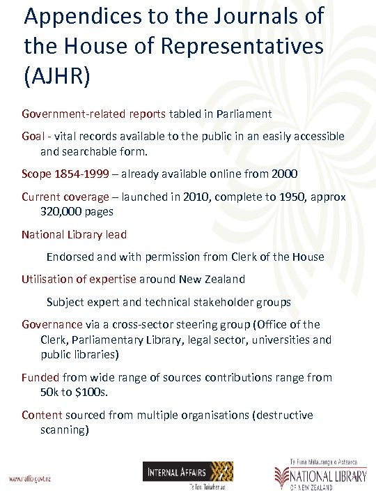 Appendices to the Journals of the House of Representatives (AJHR) Government-related reports tabled in
