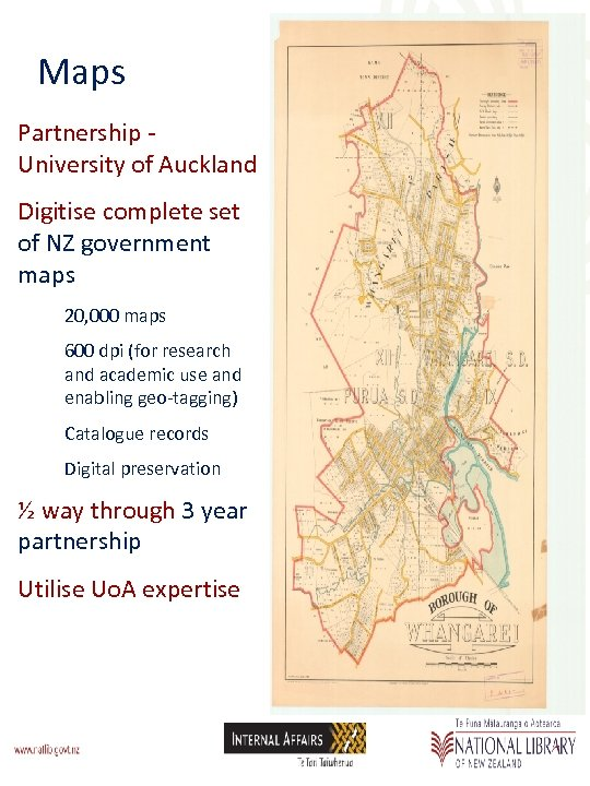 Maps Partnership - University of Auckland Digitise complete set of NZ government maps 20,
