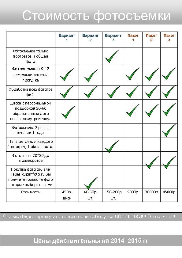 Стоимость фотосъемки Вариант 1 Вариант 2 Вариант 3 Пакет 1 Пакет 2 Пакет 3