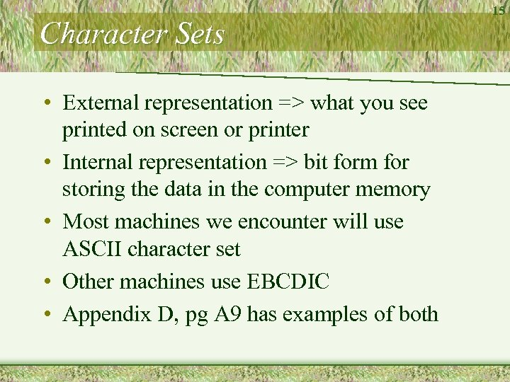 Character Sets • External representation => what you see printed on screen or printer
