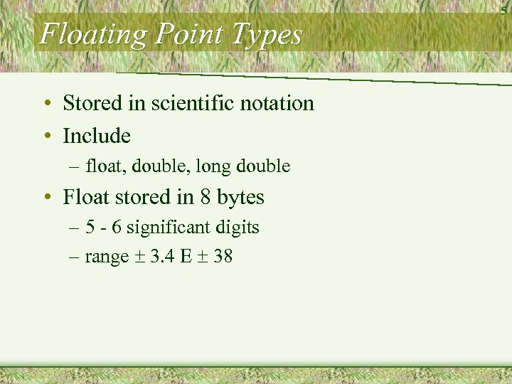 Floating Point Types • Stored in scientific notation • Include – float, double, long