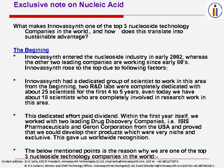 Exclusive note on Nucleic Acid What makes Innovassynth one of the top 3 nucleoside