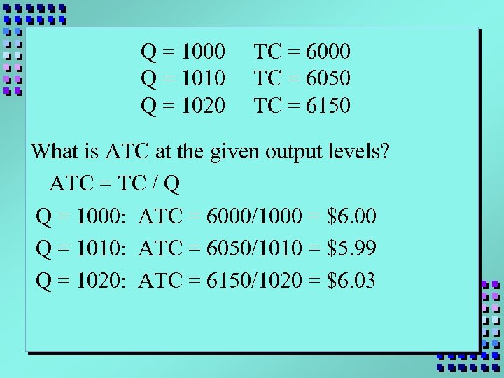 Q = 1000 Q = 1010 Q = 1020 TC = 6000 TC =