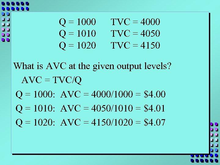 Q = 1000 Q = 1010 Q = 1020 TVC = 4000 TVC =