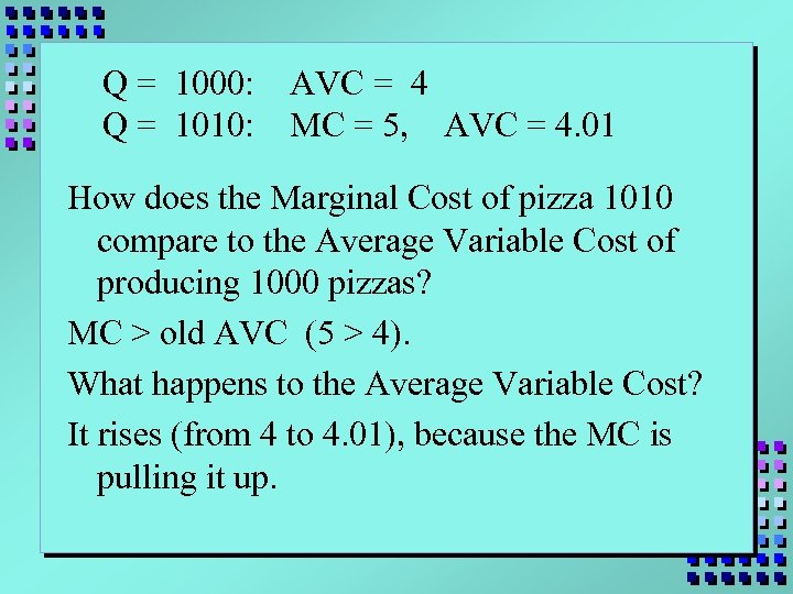 Q = 1000: Q = 1010: AVC = 4 MC = 5, AVC =