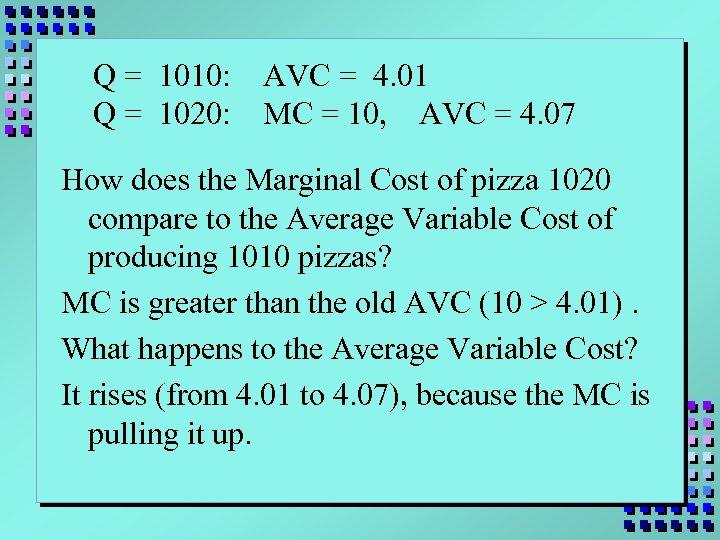 Q = 1010: Q = 1020: AVC = 4. 01 MC = 10, AVC