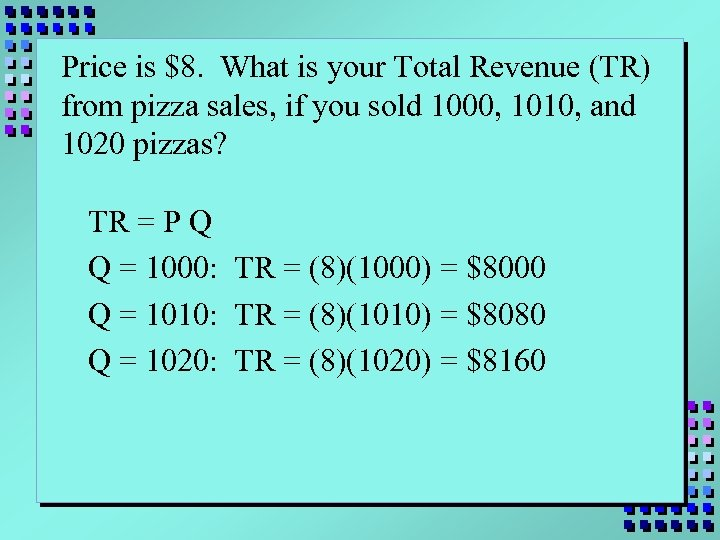 Price is $8. What is your Total Revenue (TR) from pizza sales, if you