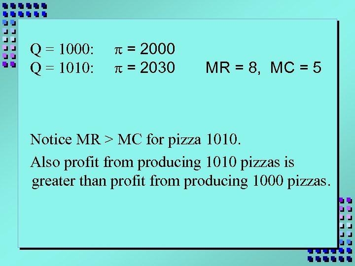 Q = 1000: Q = 1010: p = 2000 p = 2030 MR =