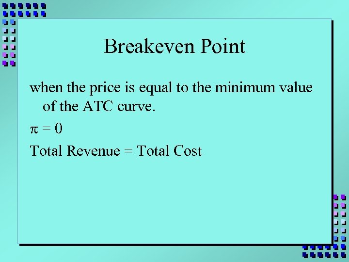 Breakeven Point when the price is equal to the minimum value of the ATC