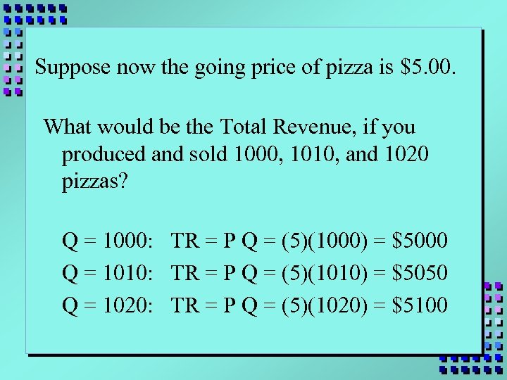 Suppose now the going price of pizza is $5. 00. What would be the
