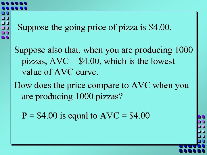 Suppose the going price of pizza is $4. 00. Suppose also that, when you