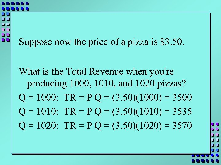 Suppose now the price of a pizza is $3. 50. What is the Total