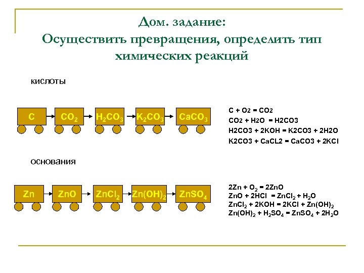Дом. задание: Осуществить превращения, определить тип химических реакций кислоты С CO 2 H 2
