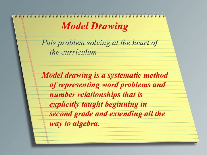 Model Drawing Puts problem solving at the heart of the curriculum Model drawing is