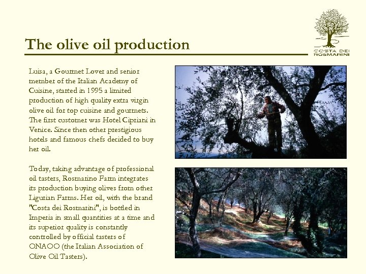 The olive oil production Luisa, a Gourmet Lover and senior member of the Italian