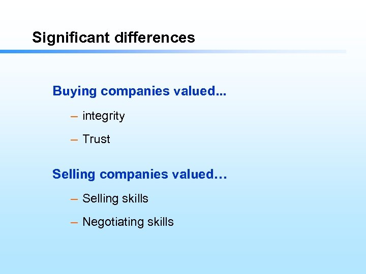 Significant differences Buying companies valued. . . – integrity – Trust Selling companies valued…