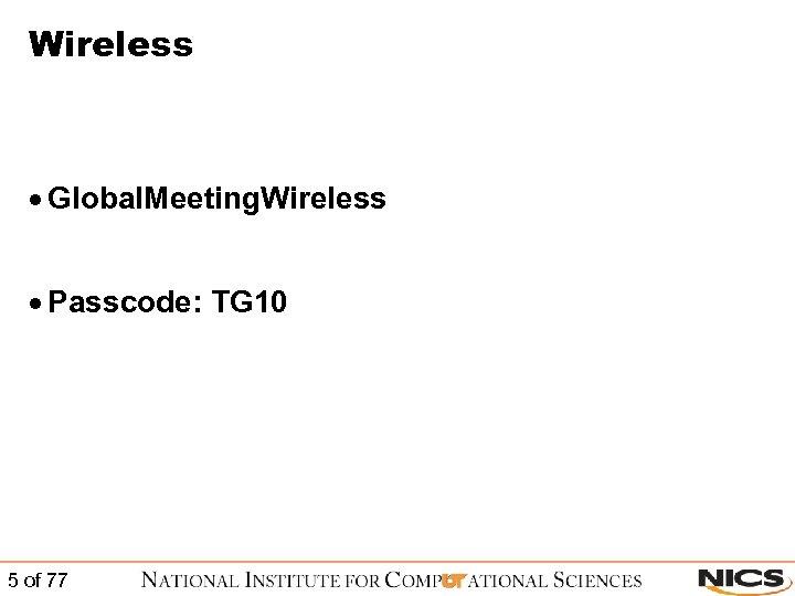Wireless · Global. Meeting. Wireless · Passcode: TG 10 5 of 77