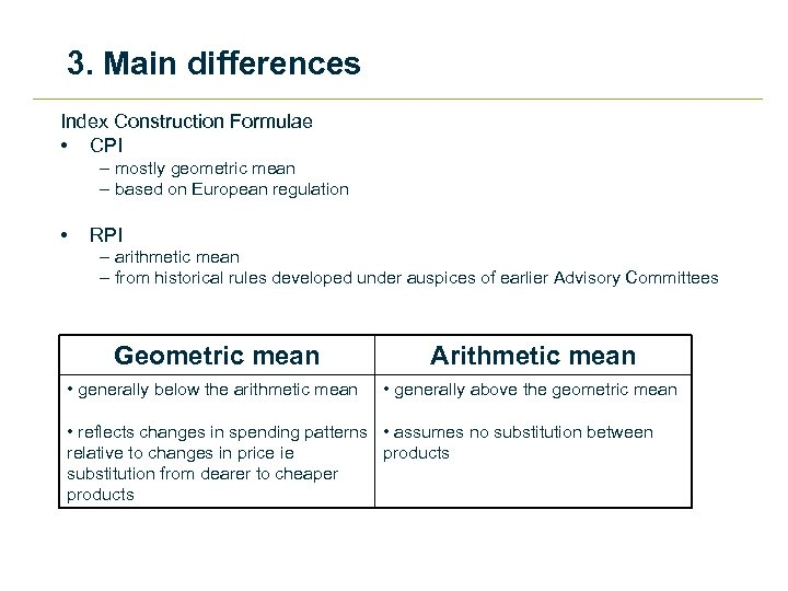 3. Main differences Index Construction Formulae • CPI – mostly geometric mean – based