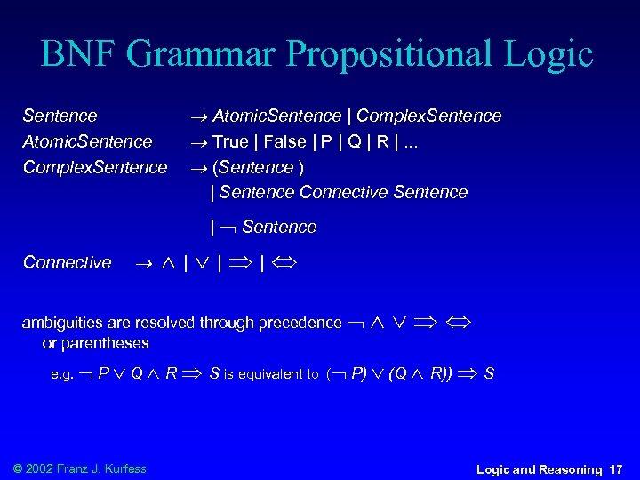 BNF Grammar Propositional Logic Sentence Atomic. Sentence Complex. Sentence Atomic. Sentence | Complex. Sentence