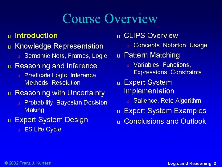 Course Overview u u Introduction Knowledge Representation u u Probability, Bayesian Decision Making Expert