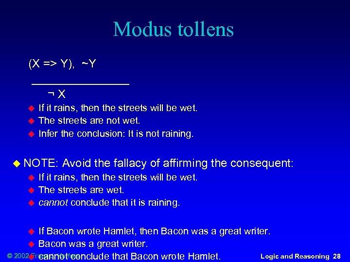Modus tollens (X => Y), ~Y ________ ¬X u u u If it rains,