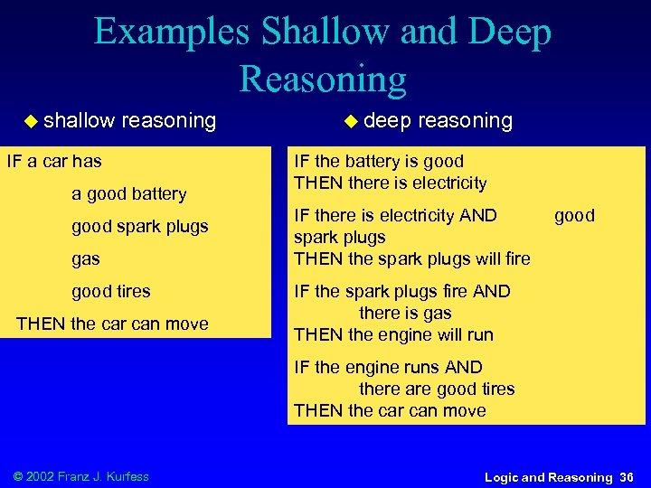 Examples Shallow and Deep Reasoning u shallow reasoning IF a car has a good