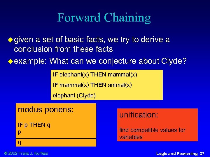 Forward Chaining u given a set of basic facts, we try to derive a