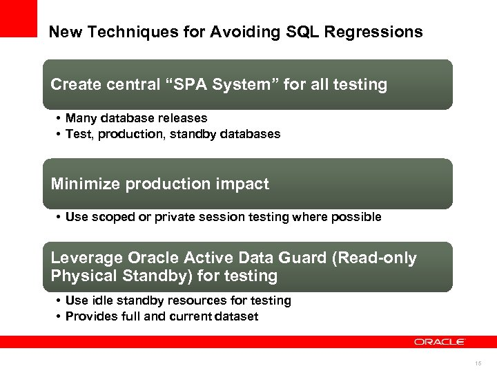 "New Techniques for Avoiding SQL Regressions Create central ""SPA System"" for all testing •"