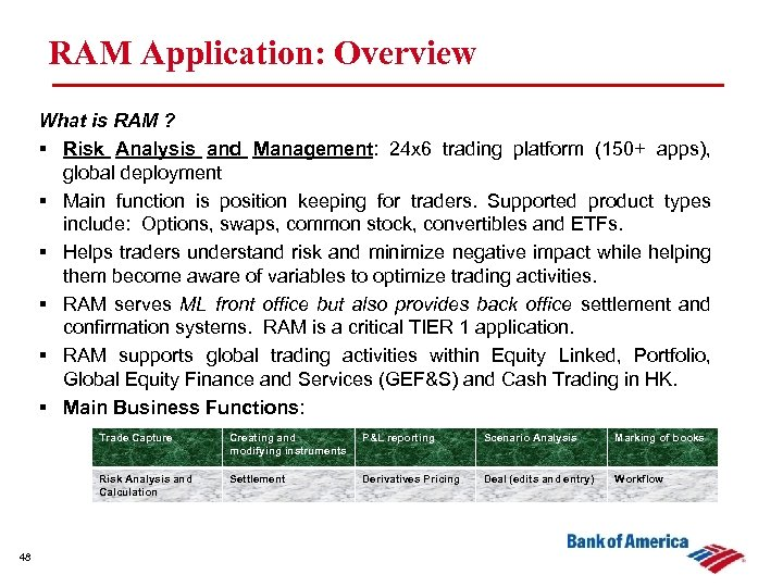 RAM Application: Overview What is RAM ? § Risk Analysis and Management: 24 x