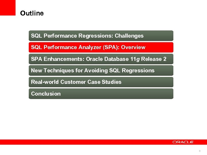 Outline SQL Performance Regressions: Challenges SQL Performance Analyzer (SPA): Overview SPA Enhancements: Oracle Database