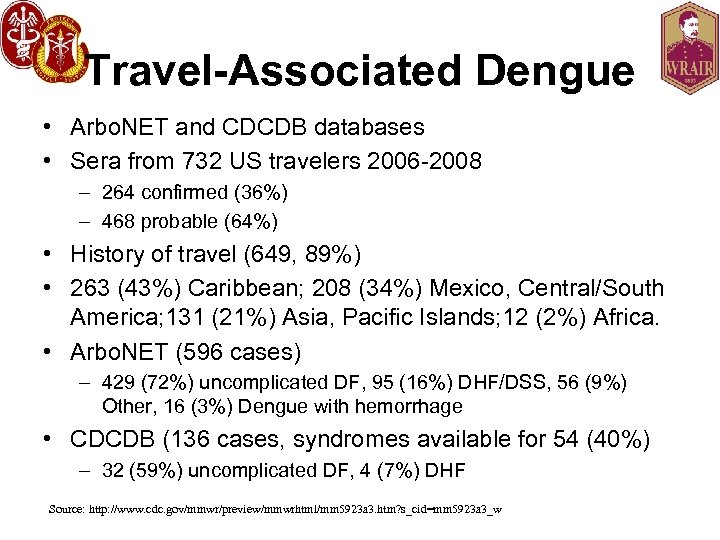 Travel-Associated Dengue • Arbo. NET and CDCDB databases • Sera from 732 US travelers