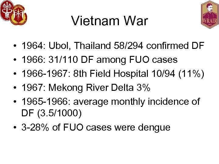 Vietnam War • • • 1964: Ubol, Thailand 58/294 confirmed DF 1966: 31/110 DF