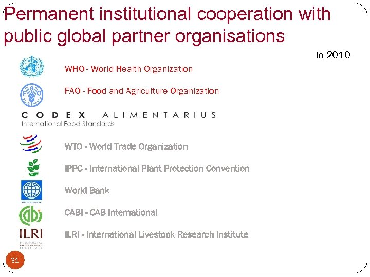 Permanent institutional cooperation with public global partner organisations In 2010 WHO - World Health