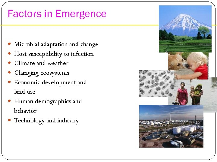 Factors in Emergence Microbial adaptation and change Host susceptibility to infection Climate and weather