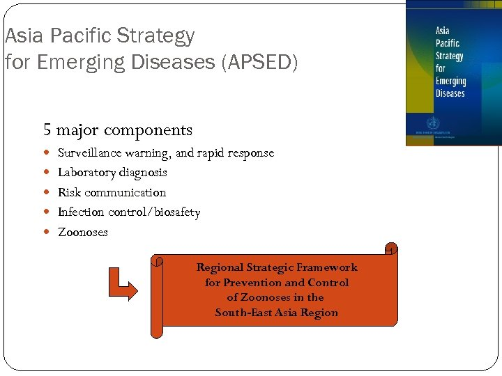 Asia Pacific Strategy for Emerging Diseases (APSED) 5 major components Surveillance warning, and rapid