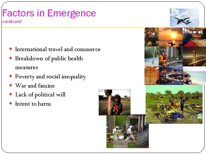 Factors in Emergence continued International travel and commerce Breakdown of public health measures Poverty