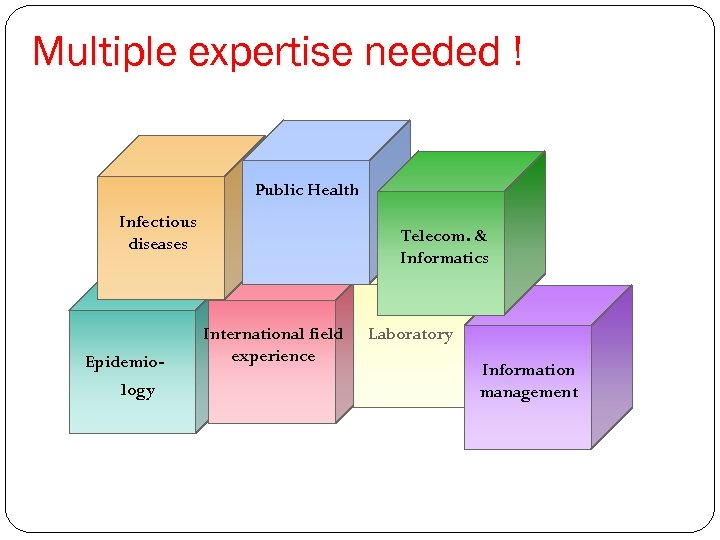 Multiple expertise needed ! Public Health Infectious diseases Epidemiology Telecom. & Informatics International field