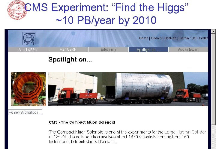 "CMS Experiment: ""Find the Higgs"" ~10 PB/year by 2010"