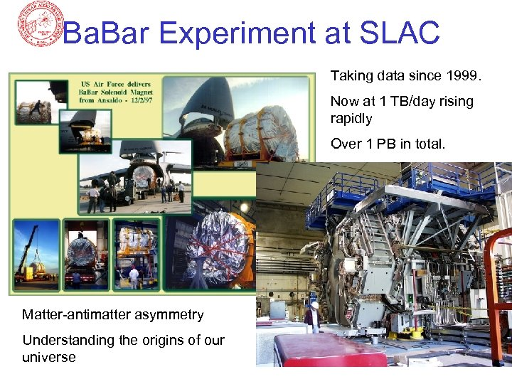 Ba. Bar Experiment at SLAC Taking data since 1999. Now at 1 TB/day rising