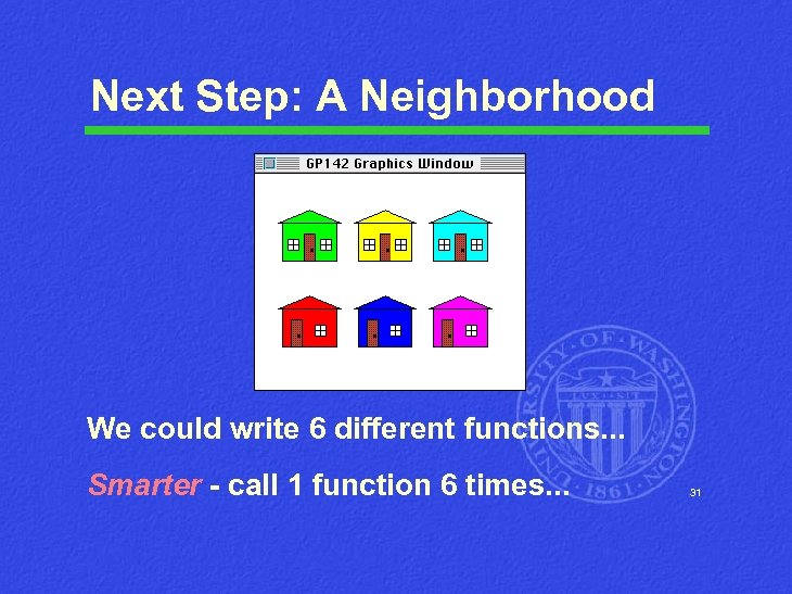 Next Step: A Neighborhood We could write 6 different functions. . . Smarter -