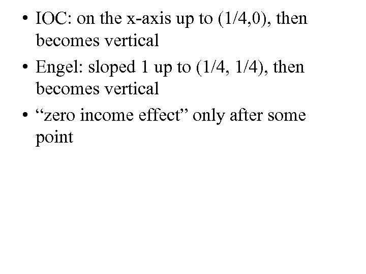 • IOC: on the x-axis up to (1/4, 0), then becomes vertical •