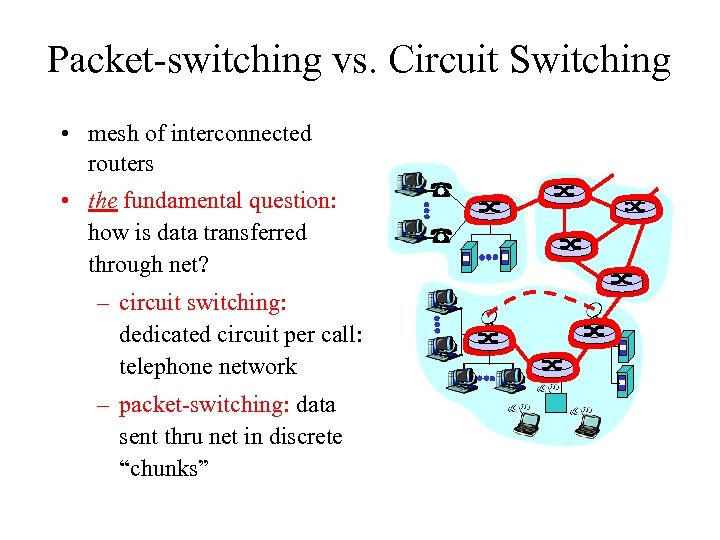 Packet-switching vs. Circuit Switching • mesh of interconnected routers • the fundamental question: how